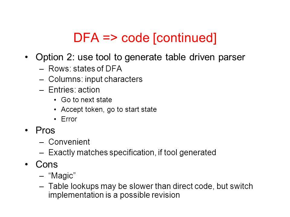 DFA => code [continued]